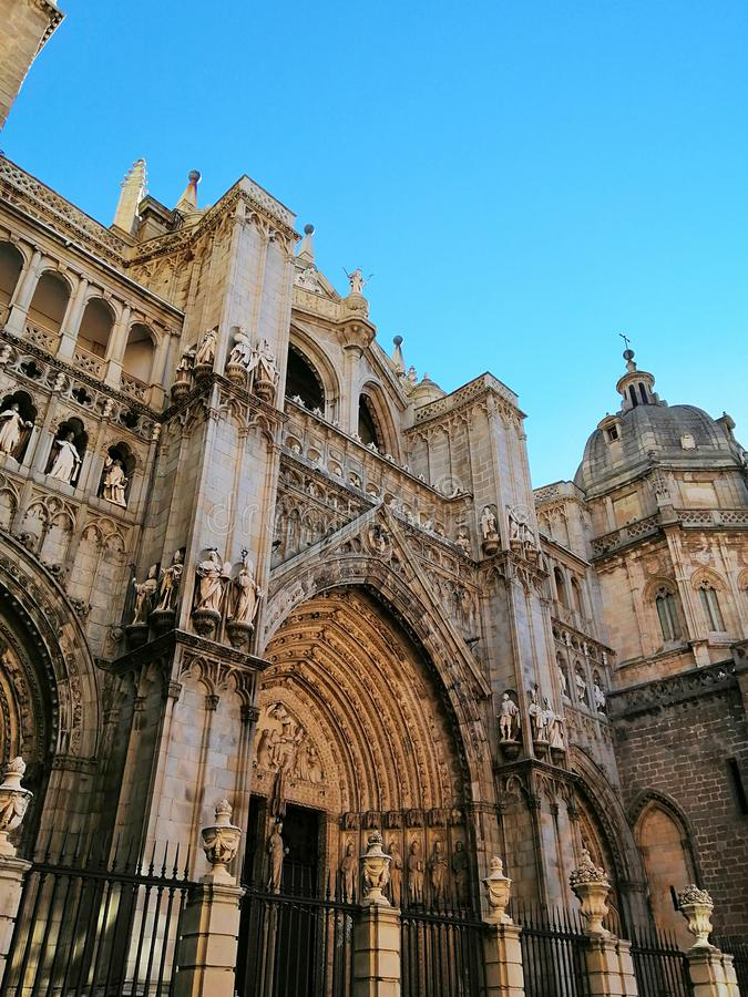 Toledo Cathedral, High Gothic cathedral in Spain. Beautiful old architecture of Toledo, Spain. Beautiful sunny day in Toledo royalty free stock photo