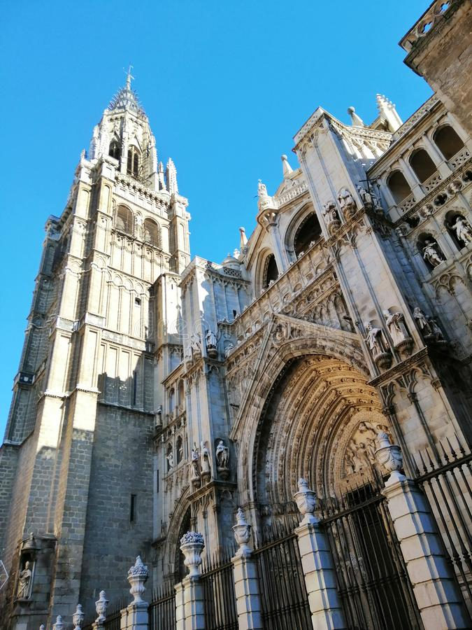 Toledo Cathedral, High Gothic cathedral in Spain. Beautiful old architecture of Toledo, Spain. Beautiful sunny day in Toledo royalty free stock image