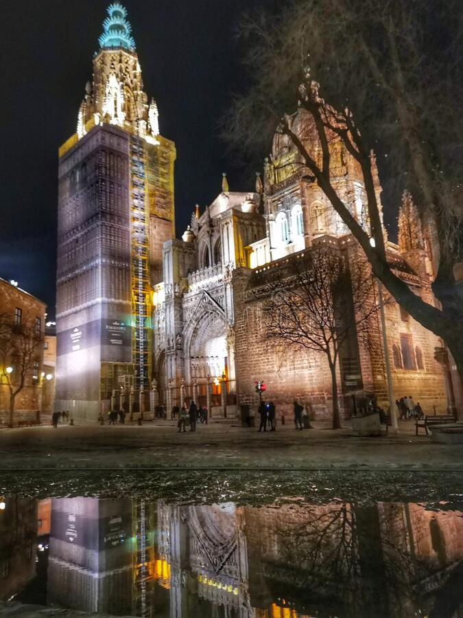 Toledo cathedral by night stock photos