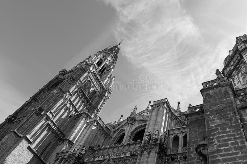 Toledo Cathedral, Spain. Low angle view of the Cathedral in Toledo (Primate Cathedral of Saint Mary of Toledo), one of the three 13th-century High Gothic royalty free stock image