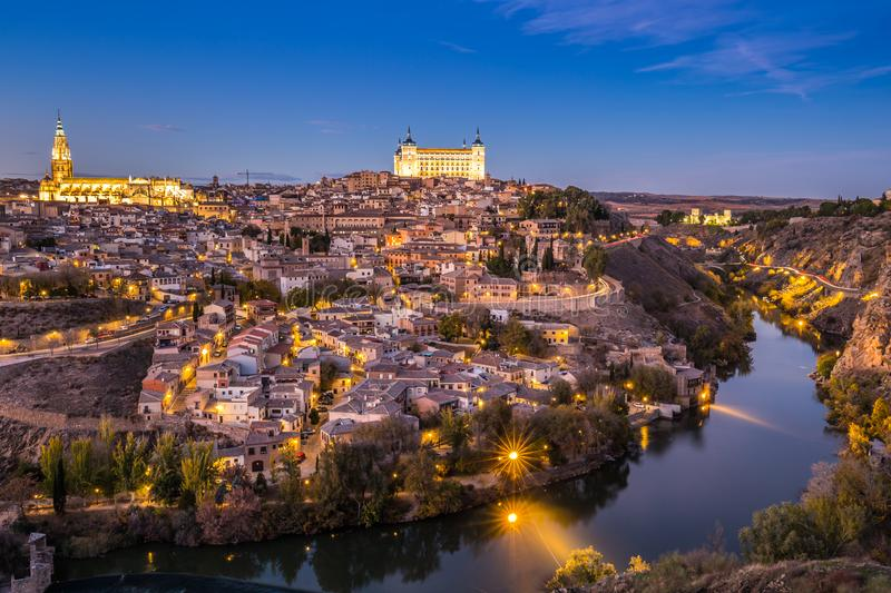 Toledo Cityscape with Alcazar at dusk in Madrid Spain stock images