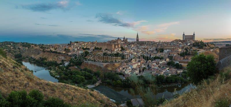 Toledo Cityscape. Panorama of Toledo and the Rio Tajo, Spain royalty free stock images