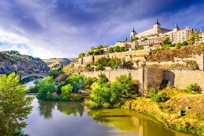 Toledo, Hiszpania Stara Grodzka linia horyzontu obraz stock