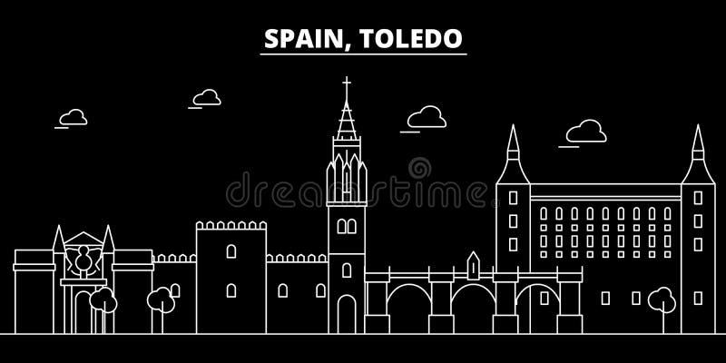 Toledo konturhorisont Spanien - Toledo vektorstad, spansk linjär arkitektur, byggnader Toledo lopp stock illustrationer