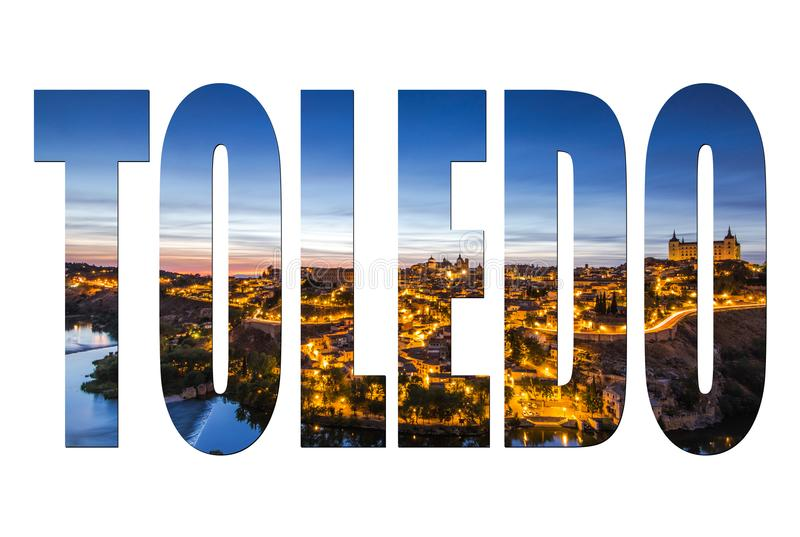 Toledo letters isolated, post card template royalty free stock photos