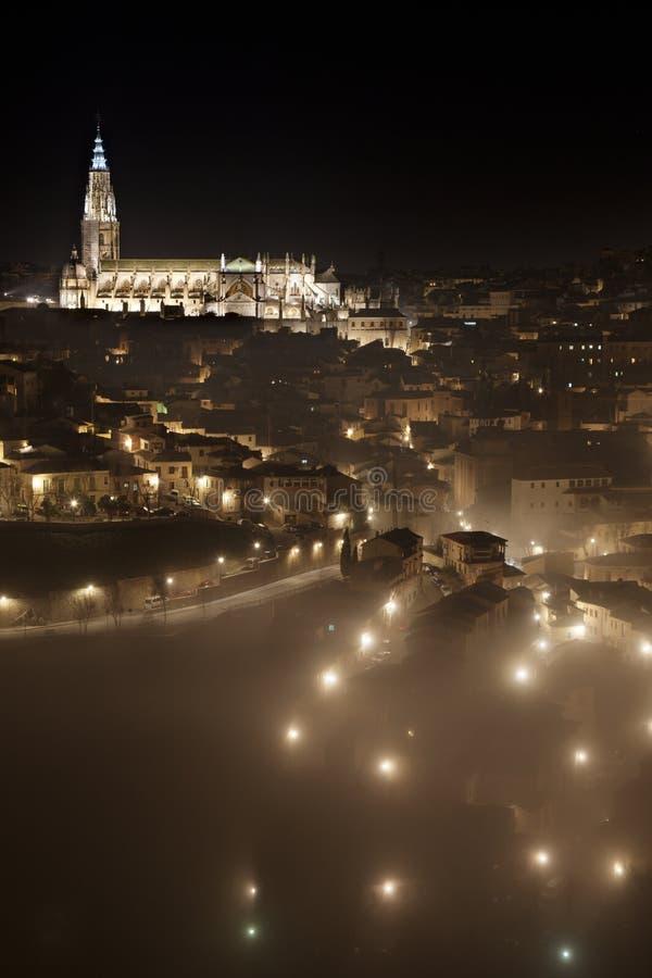 Toledo na noite fotografia de stock royalty free