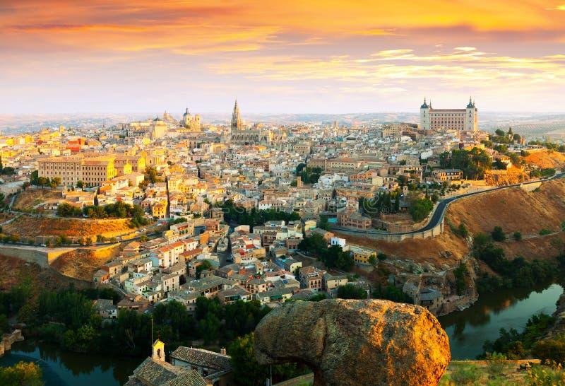 Toledo in ochtend spanje stock afbeeldingen