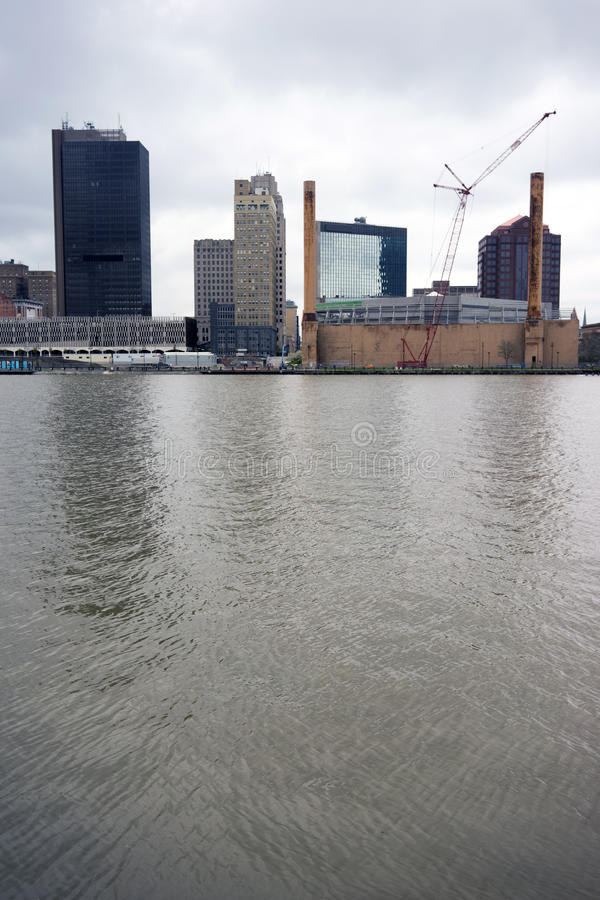 Toledo Ohio Downtown City Skyline Maumee flod royaltyfri foto