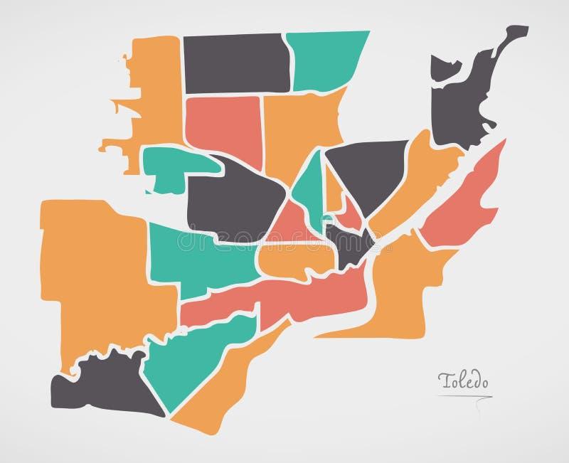 Toledo Ohio Map with neighborhoods and modern round shapes. Illustration royalty free illustration