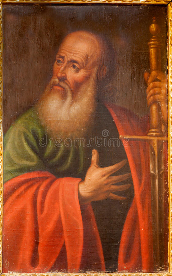 Toledo - Paint of Saint Paul the apostle from church Iglesia de san Idefonso royalty free stock image