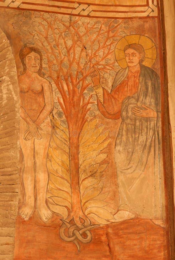 Toledo - skapelse av den Eva freskomålningen i den kyrkliga San romaren. royaltyfri bild
