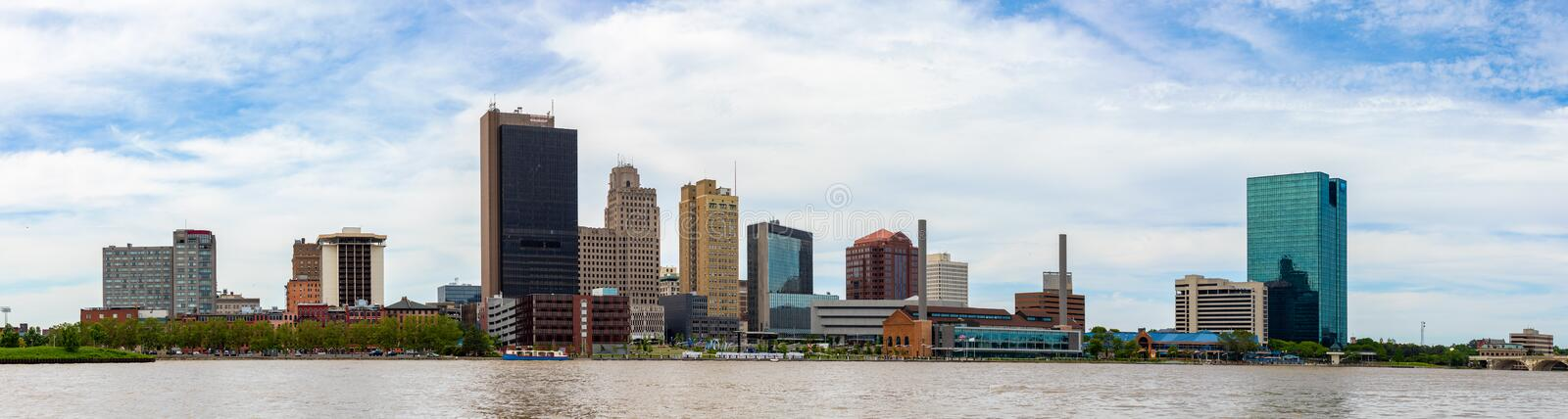 Toledo Skyline. Toledo, city located in the state of Ohio, United States, as seen from the International Park, across the Maumee River royalty free stock photography