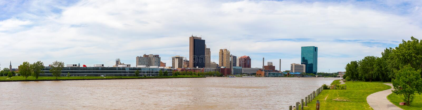 Toledo Skyline. Toledo, city located in the state of Ohio, United States, as seen from the International Park, across the Maumee River royalty free stock images