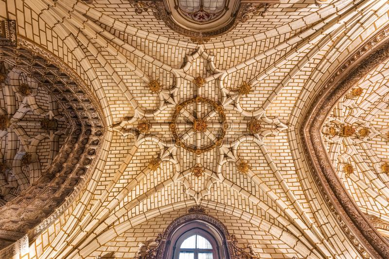 Toledo, Spain - December 16, 2018 : Ceiling of the Primate cathedral of Saint Mary in Toledo, Spain stock images