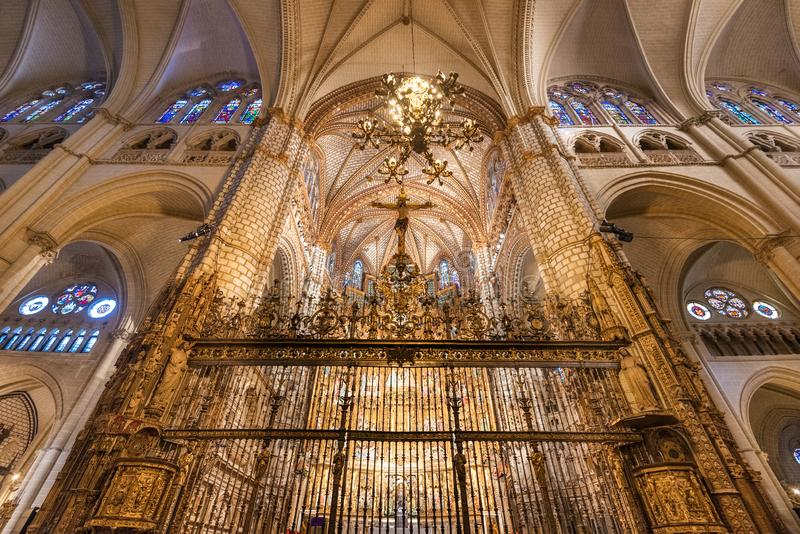Toledo, Spain - December 16, 2018 : Interior of Toledo cathedral in historic medieval city of Toledo royalty free stock images