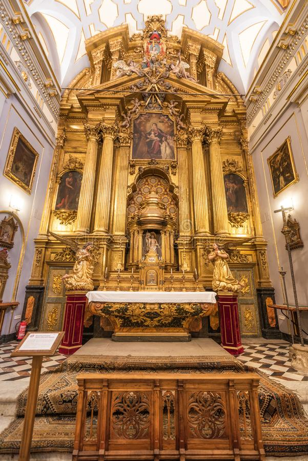 Toledo, Spain - December 16, 2018 : Interior of Doncellas Nobles Church, Toledo, Spain royalty free stock photography