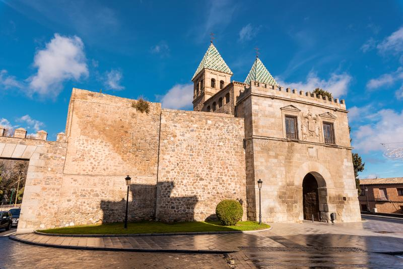 Toledo, Spain famous monument bisagra gate, ancient medieval access to the city walls stock images
