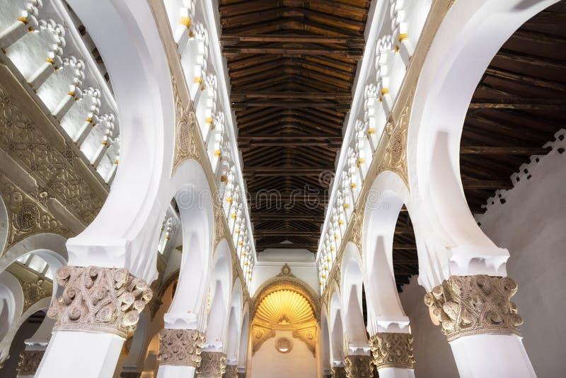Toledo, Spain - Interior Synagogue of Santa Maria la Blanca in Toledo, Spain royalty free stock photo