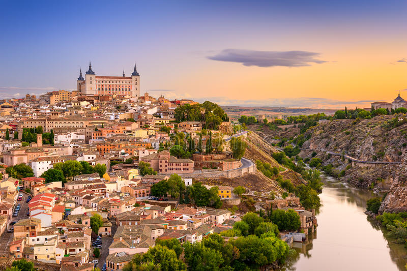 Toledo Spain Skyline royaltyfri bild
