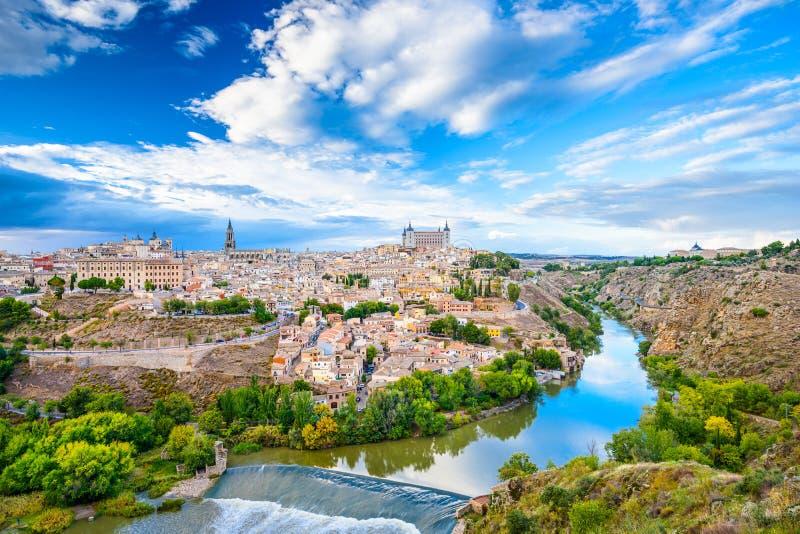 Toledo Spanien gammal stadshorisont arkivbild