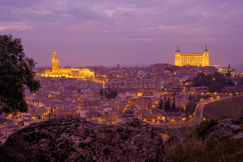 Toledo at sunset stock images