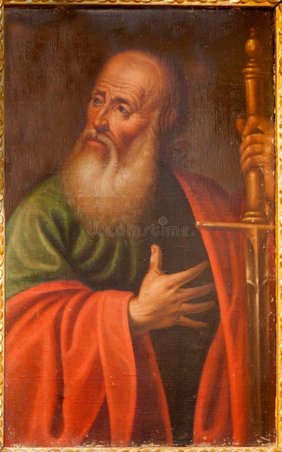 Toledo - Verf van Saint Paul de apostel van kerk Iglesia DE San Idefonso royalty-vrije stock afbeelding