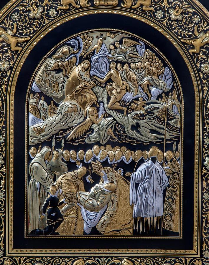 Toleod - detalle de la placa de metal típica con la imitación de la pintura de El Greco fotos de archivo libres de regalías