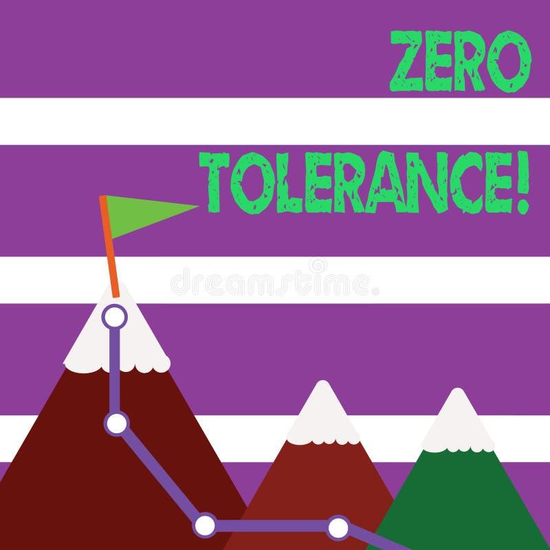 Tolerância zero do texto da escrita da palavra Conceito do negócio para a recusa para aceitar tipicamente o comportamento antis ilustração do vetor