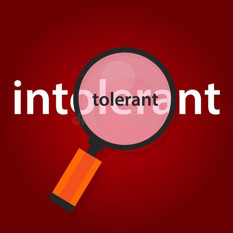 Tolerantes intolerantes Konzept der Toleranz im multicultularism stock abbildung