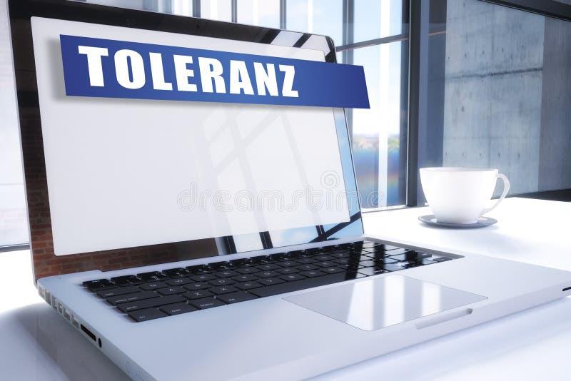 Toleranz. German word for tolerance text on modern laptop screen in office environment. 3D render illustration business text concept. respect diversity stock illustration