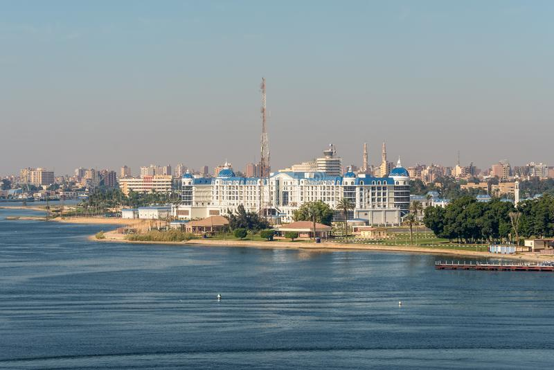 Tolip El Forsan Hotel in Ismailia, Egypt. Ismailia, Egypt - November 5, 2017: Tolip El Forsan Hotel on the Lake Timsah lies along the path of the Suez canal royalty free stock photo