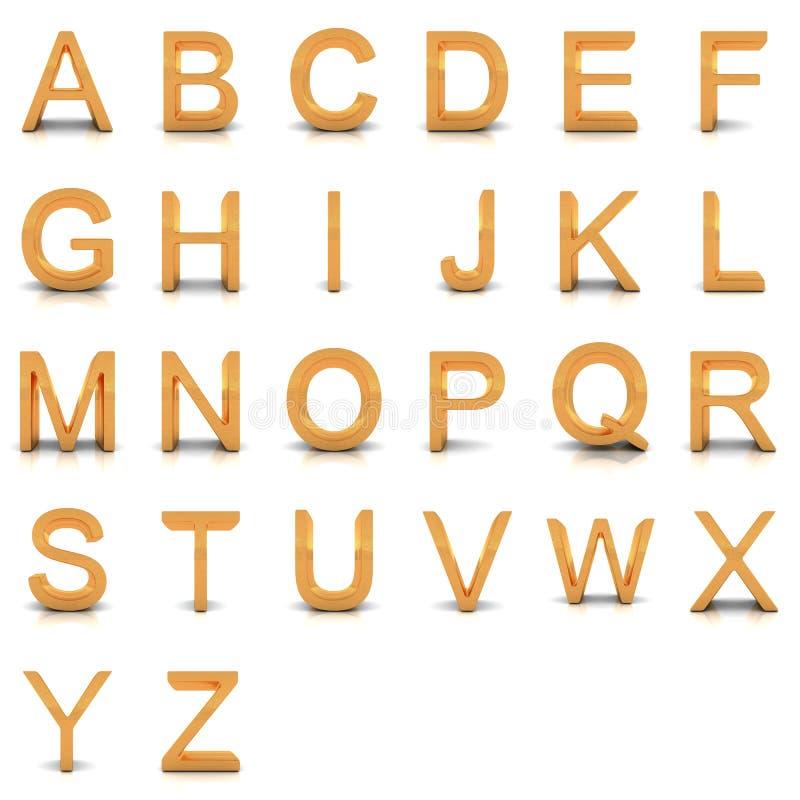 tolkning 3D av det guld- alfabetet. royaltyfri fotografi