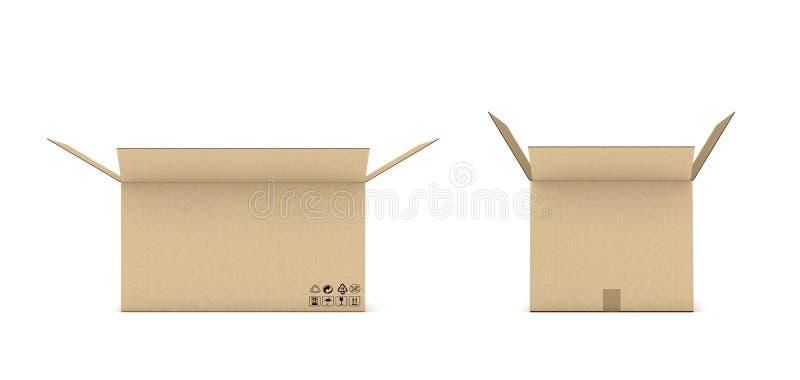 Tolkning av den öppna pappbrevlådan som isoleras på en vit bakgrund royaltyfri illustrationer