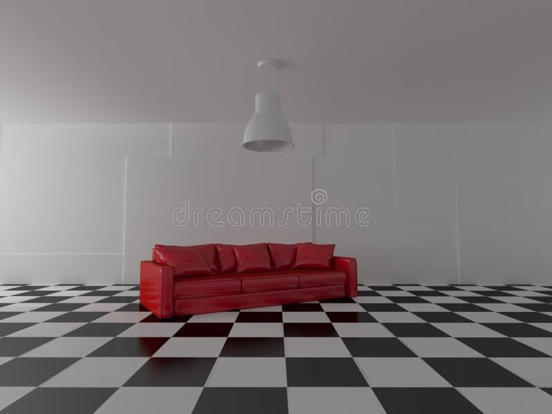 Tolkning av den moderna ljusa soffan i röda färger på glansigt svartvitt golv vektor illustrationer