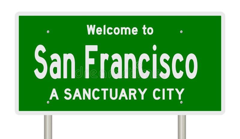 Tolkning av huvudvägtecknet för fristadstaden San Francisco royaltyfri illustrationer