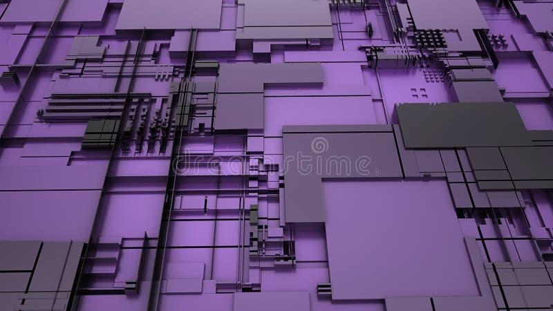 tolkning 3d av abstrakt teknologi royaltyfri illustrationer
