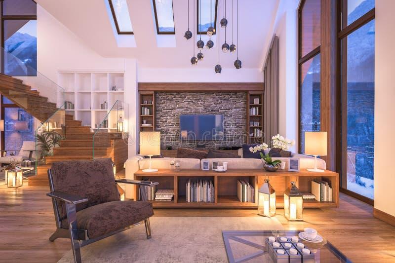 tolkning 3D av aftonvardagsrum av chalet royaltyfri bild