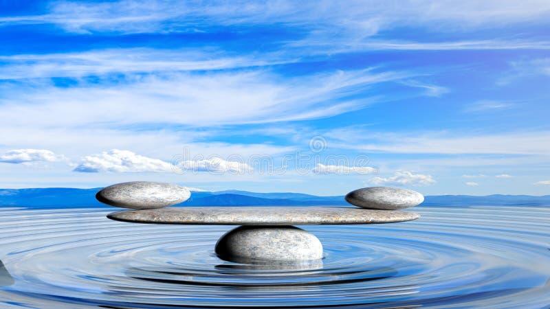 tolkning 3D av att balansera Zenstenar i vatten vektor illustrationer
