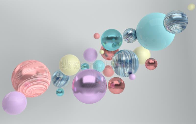 tolkning 3d av att sväva polerad blått, rosa, turquose och shini royaltyfri illustrationer