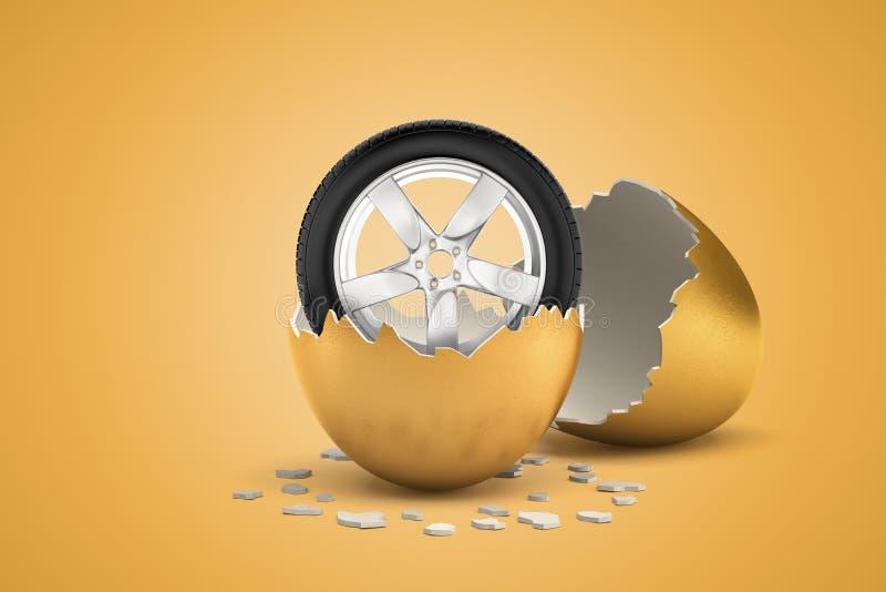 tolkning 3d av bilhjulet som kläckte precis ut från det guld- ägget stock illustrationer