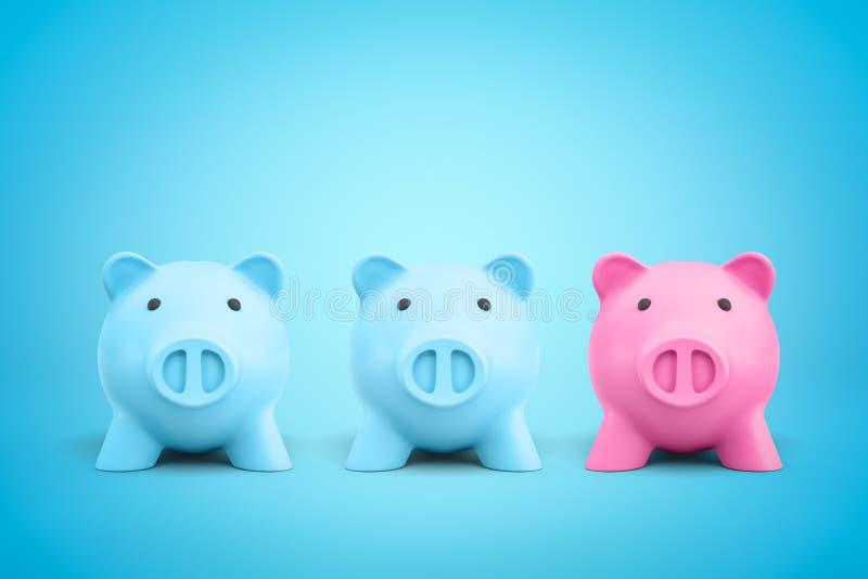 tolkning 3d av blåa två och rosa spargrisar en på blå bakgrund royaltyfri fotografi