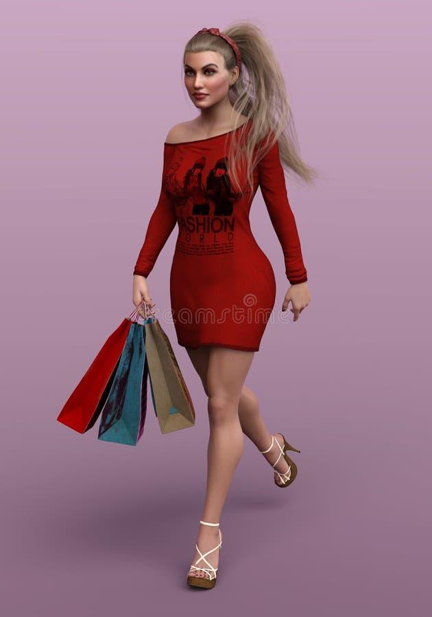 tolkning 3d av den blonda kvinnan med l?ngt lockigt h?rligt h?r vektor illustrationer