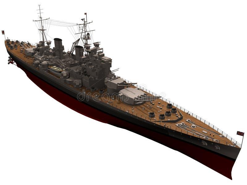 tolkning 3d av den brittiska slagskeppet för konung George V royaltyfri illustrationer