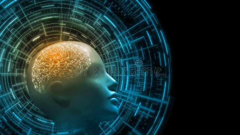 tolkning 3D av den cybernetic hjärnan inom bio mänsklig cyborgs huvud med futuristisk bakgrund för teknologihudmanöverenhet royaltyfri illustrationer