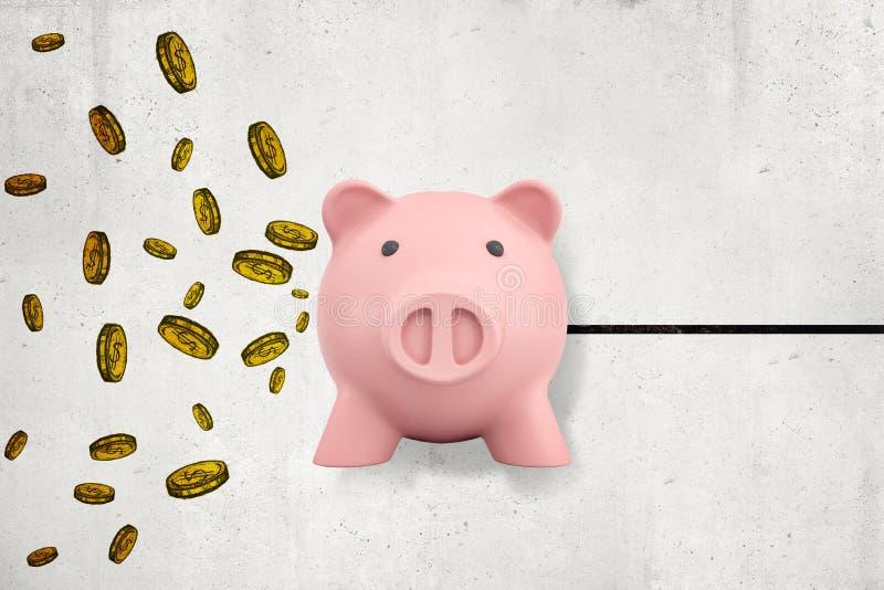 tolkning 3d av den främre sikten av den gulliga rosa spargrisen i luft mot väggen med den drog mynt och svarta linjen på väggen royaltyfri bild