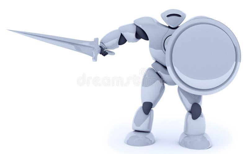 tolkning 3D av den futuristiska isolaten för robotkrigareantivirus på wh stock illustrationer