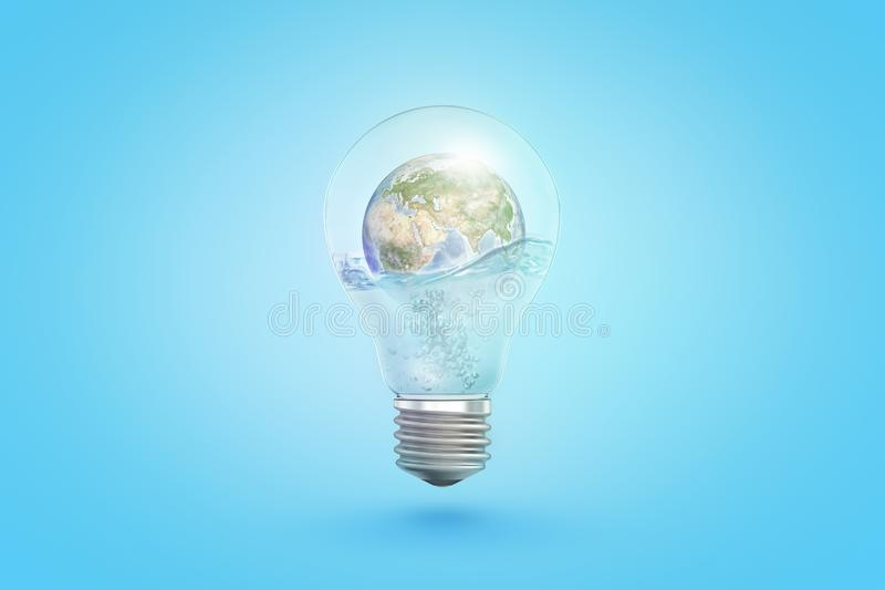 tolkning 3d av den genomskinliga ljusa kulan med jordjordklotet inom på blå bakgrund royaltyfri illustrationer