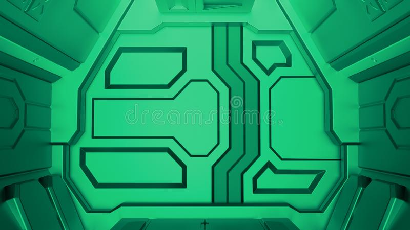 tolkning 3D av den greenhangar dörren för realistiskt science fictionrymdskepp royaltyfri illustrationer
