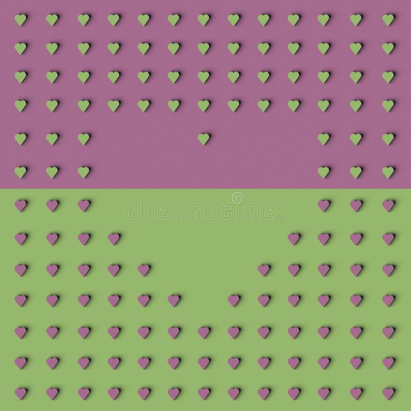 TOLKNING 3D AV den HJÄRTASHAPE RAMEN vektor illustrationer