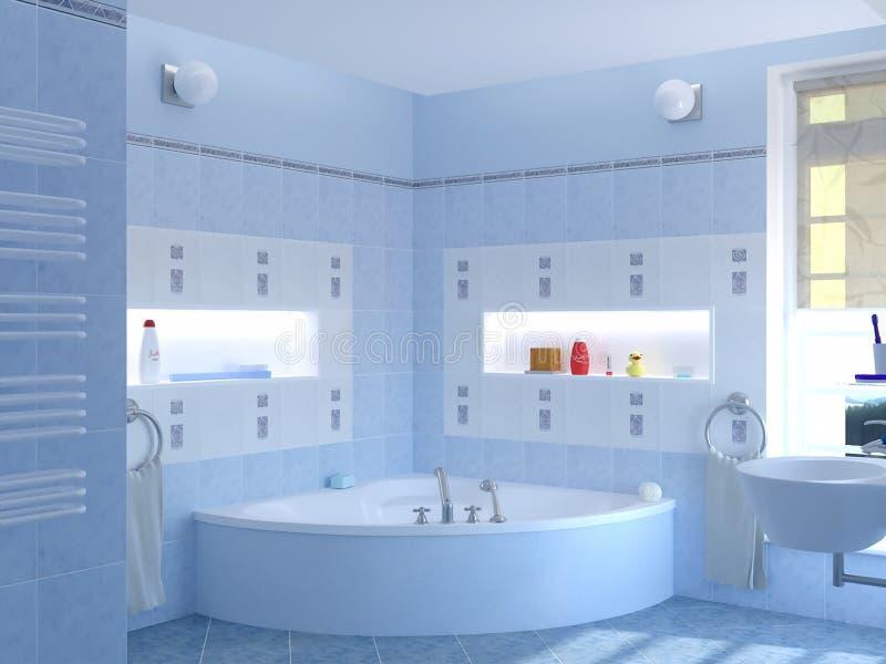 tolkning 3d av den klassiska blåa badruminredesignen stock illustrationer